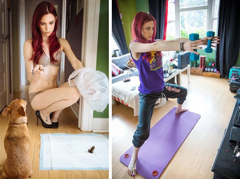 博客我在我的地盘(Me In My Place)以刻画性感女郎在装扮精致的室内游走的场景而闻名遐迩。然而,据英国《每日邮报》12月8日报道,一位演员兼角色扮演爱好者珂洛艾伊迪克斯特拉拍摄了一组更加贴近真实生活的写真照,并取名为我才是在我的地盘(Me ACTUALLY In My Place),以此来挑战权威。目前,我在我的地盘的博主迈克尔爱德华公开表示,愿意与珂洛艾伊签约并为她拍摄写真集,但至今仍未得到她本人的回应。珂洛艾伊虽然模仿我在我的地盘中的女模特化着彩妆且衣着性感,但并没有模仿她