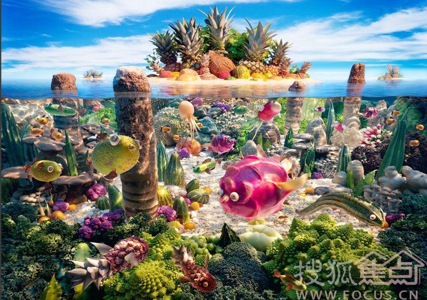 伦敦摄影师carl warner用美食搭建出一片壮观美景,用西兰花做茂盛大树