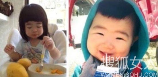曹格女儿和韩国小眼正太撞脸