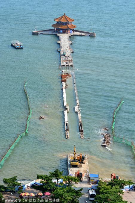 青岛栈桥塌陷半年后桥身合龙