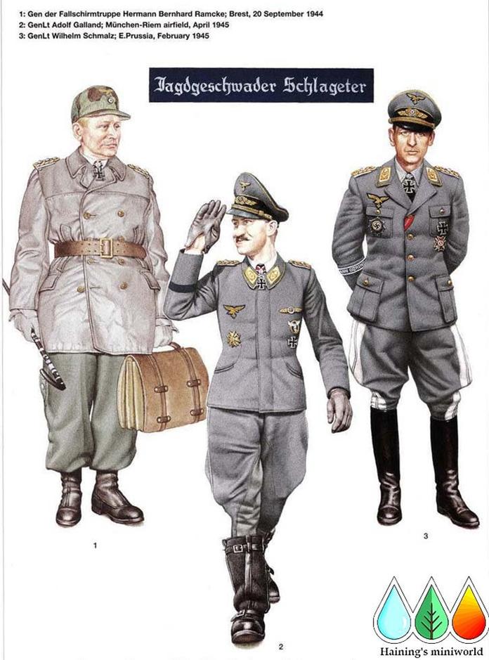 H1:空降兵上将赫尔曼伯恩哈特雷姆克(Hermann Bernhard Ramcke),布雷斯特堡垒,1944年9月20日 照片显示雷姆克在最后放弃布雷斯特堡垒时穿了这种有趣的服装组合。帽子是用空军的裂片式迷彩布裁剪的M1943式通用野战帽式样的帽子;注意金色的将官版本的鹰徽与肩章一起显示了他的军衔虽然他刚刚在前一天被晋升到这一军衔。相对照的一点是他一直展示着自己的带橡叶装饰的骑士十字勋章,其中橡叶装饰是他在1942年11月在北非战场上获得的;显然这时他还没有得到在当年9月19日他同时获得的