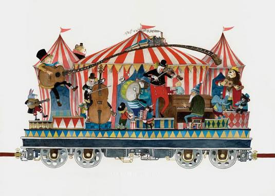 小清新手绘 火车上的梦幻游乐园