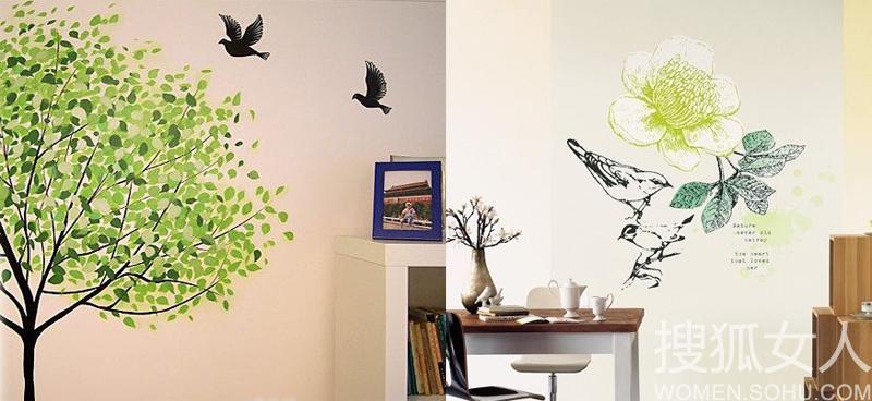 创意手绘墙简单铸就自然风情 绽放的花朵,神态专注的小鸟