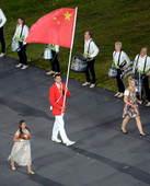 北京时间2012年7月28日,伦敦奥运会开幕式正式开始,图为中国代表团入场。更多奥运视频>> 更多奥...