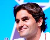 当地时间7月26日,瑞士网球名将费德勒在伦敦奥运会主新闻中心出席新闻发布会。