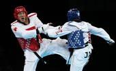 北京时间8月11日,2012年伦敦奥运会跆拳道男子+80kg级预赛,中国选手刘哮波6-4战胜牙买加选...