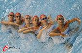 北京时间2012年7月25日, 2012年伦敦奥运会,英国花样游泳队训练备战。