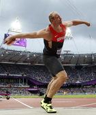 北京时间8月8日,2012伦敦奥运会男子铁饼决赛,德国选手罗伯特-哈丁夺冠。更多奥运视频>> 更多奥...
