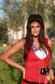 """8月23日,""""奥运第一美女""""巴拉圭标枪运动员乐琳-弗朗哥,独家接受搜狐体育在奥运村拍写真。搜狐体育 京津/摄"""