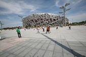 奥林匹克公园中心区鸟巢附近有一些别致的景观,为这个庞大的建筑增加了些许柔美。龚宇 摄